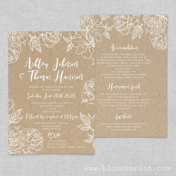 Floral wedding invitation template, Boho chic wedding invites floral, Rustic wedding invitations cheap, Floral kraft wedding invitation, A5