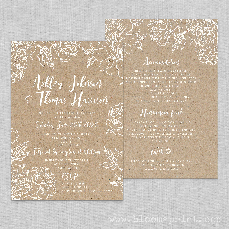 floral wedding invitation template boho chic wedding invites