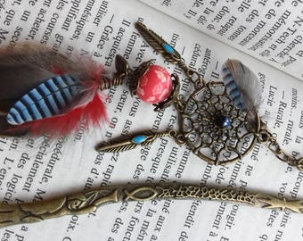 Bookmark made of natural feathers, red and turquoise - birthday gift, mother's day - hair - hair stick - dream catcher - book