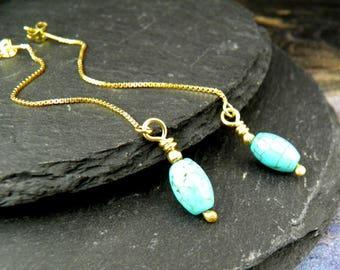 Threader earrings, turquoise jewelry, dangle earrings, sterling silver, minimalist earrings, minimal jewelry, gold earrings, chain threader
