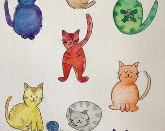 Colorful Cat Watercolor