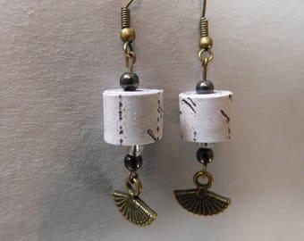 Paper beads & Mini fan earrings