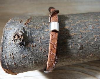 Rolled leather men bracelet
