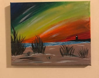 Island sunset small canvas painting