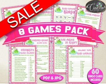 Frog Baby Shower Games, girl baby shower games, baby shower games printable, pink dots games, jpg pdf, digital, Instant Download - bsf01