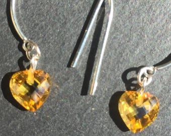 Citrine coloured zirconion Heart earrings
