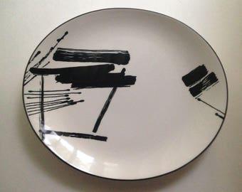 "Sango, The Larry Laslo Salad Plate 8"" Black/White 267002 Korea 1986"