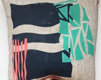 Abstract screenprinted linen cushion