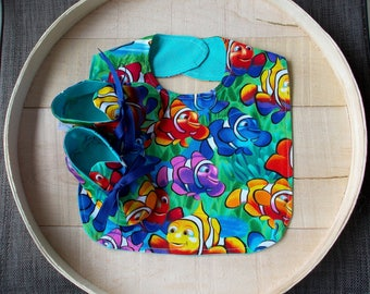 Whimsical Clown Fish Print Infant Bib and Crib Shoes Set