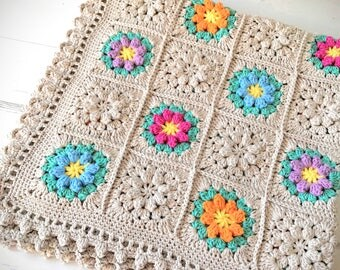 Made To Order Baby Blanket/ Granny Square Blanket/ Cotton Baby Blanket