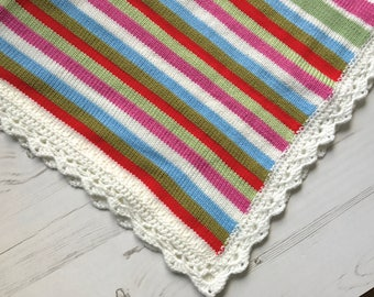 Knitted blanket/ Crochet Baby Blanket/ Colorful Baby Blanket
