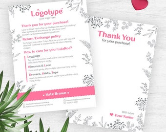 Pink Coloring Lula Thank You Card, Free Customize, Policy Card, Care Card, Return/Exchange, Coloring Lula Card