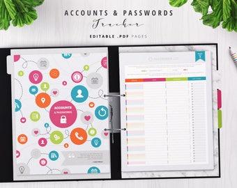 Rainbow Password Log, Accounts & Password Tracker, Password Keeper, Password Organizer, Password Book, Password Journal, Editable PDF
