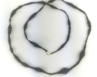 Unique hand made art yarn necklace hand spun undyed carbonised bamboo vegan jewellery sterling silver findings for knitters crocheters UK