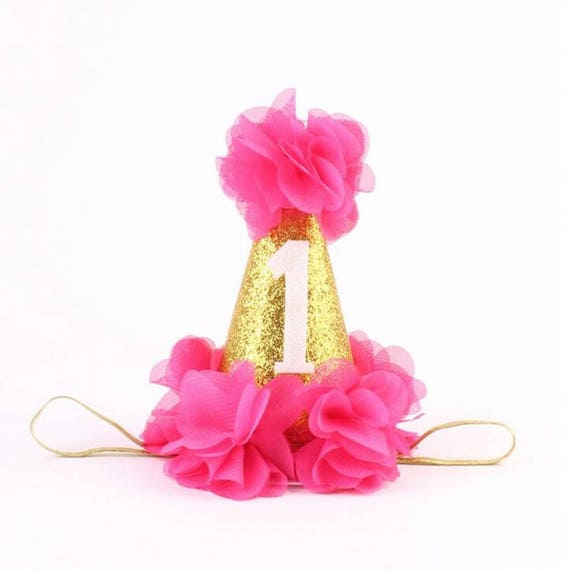 Birthday Party Hat / Hot Pink & Glitter Gold / Cake Smash Hat