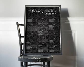 Black Damask Wedding Seating Chart, Seating Chart, Seating Arrangement, Seating Chart Ideas, Seating Chart Wedding, Seating Chart Damask