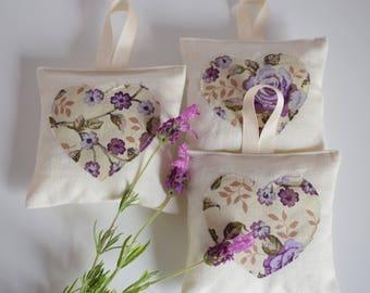 Set of 3 Linen Dried Lavender Bag & appliqué Heart motif, lavender pouch, hanging lavender bag, yorkshire lavender, natural moth repellent
