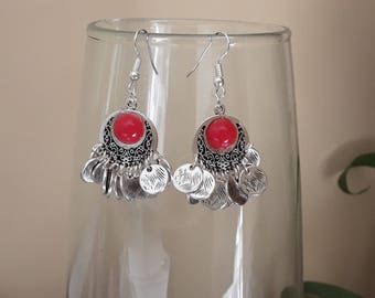 Earrings ethnic coin silver