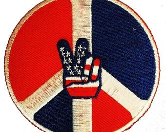 Aufnäher / Bügelbild - USA Victory Peace Frieden Symbol - rot/blau - Ø7,5 cm - by catch-the-patch® Patch Aufbügler Applikationen zum aufbügeln Applikation Patches Flicken