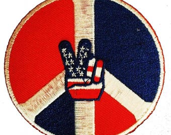 Patch/Ironing-USA victory peace symbol-red/blue-Ø 7.5 cm-by catch-the-Patch ® patch appliqué applications for ironing application patches patch