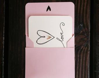 Love Note Card - Small Love Card - Quick Love Card - Mini Love Card - Secret Admirer Card - Small Heart Card - Little Love Card