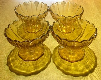 Set of Vintage Amber Glass Dessert Bowls