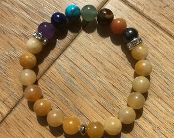 Women seven chakras and carnelian bracelet