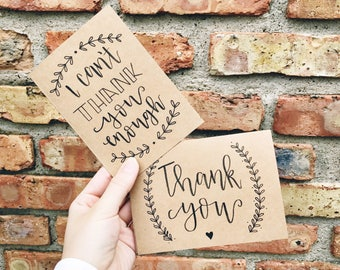 Set of 12 Hand Lettered Thank You Cards - 12 Assorted Handmade Thank You Notes - Rustic Kraft Paper Calligraphy