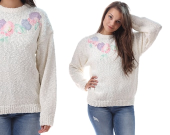 FLORAL Sweater 80s White Pink Vintage 1980s Jumper White Nubby Oversize Loose Fit Bohemian Slouch Beaded Applique Pullover Medium