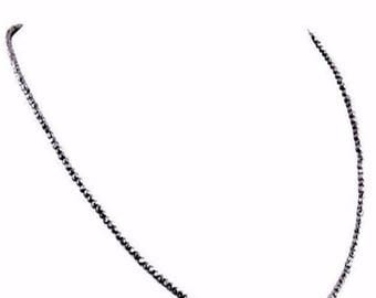 """Christmas Sale 60% Off 2.90 mm, Black Diamond Necklace.AAA.Certified.Gold Clasp.16"""" to 36"""" length Options.FREE Diamond Earrings."""