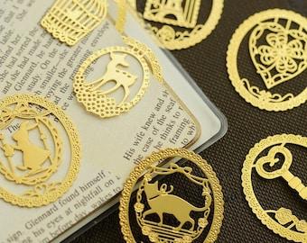 Set of 7 Cute Mini Brass Bookmarks