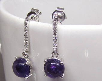 Earrings silver and Amethyst Cabochon round