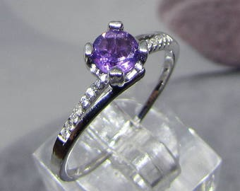 Silver set with Amethyst Facettee size 56 ring