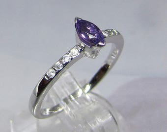 """Sterling Silver ring size 58 """"Marquise"""" cut Amethyst"""