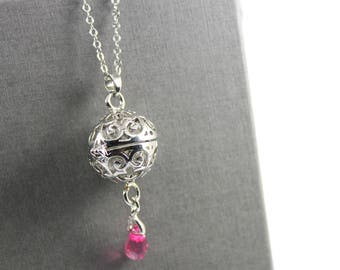Swarovski Crystal Drop Locket with Fillable Glass Orb, Memorial Jewellery, Urn Locket, Fillable Jewellery. Cremation Necklace