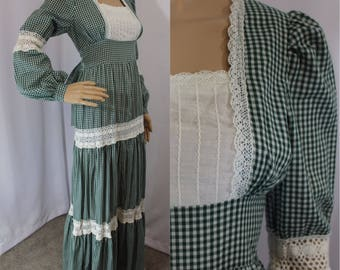 70s vintage authentic Gunne Sax green gingham tiered prayer cottage chic dress modern size 4-6 small