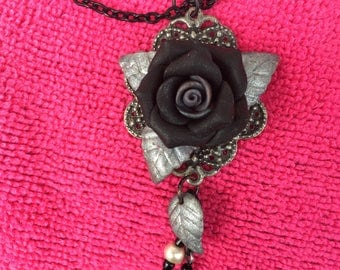 Black and silver rose necklace