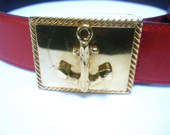 ESCADA Nautical Theme Red Leather Belt