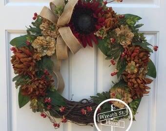 Fall Wreath, Autumn Wreath, Sunflower Wreath, Front Door Wreath, Wreath Street Floral, Grapevine Wreath, Door Wreath, Wreaths