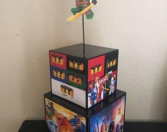 Lego Ninjago Inspired Centerpiece, lego ninjago party supplies, lego ninjago party decorations, ninjago, Cole, Jay, Kai, Nya, Master Wu, Mas