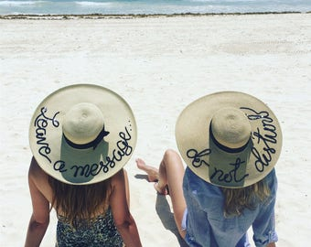 """Two or more free shipping Ships from NC, USA Custom Personalized Sun hat sequin detail, 6"""" brim, do not disturb, custom sun hat"""