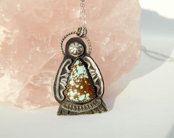 Mother Goddess, Sterling Silver Double Turquoise Angel Pendant