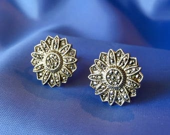 Vintage Sterling Silver and Marcasite Earrings, Vintage Screw Back Earrings, Marcasite Flower Earrings, Vintage Sterling Earrings