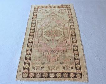 3'4''x5'10'' Turkish Oushak Rug, Vintage Anatolian Rug, Handwoven Carpet