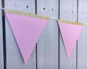 Pink and Gold Bunting Banner for Party Decorations | Girl Birthday Decorations | Bunting Flags