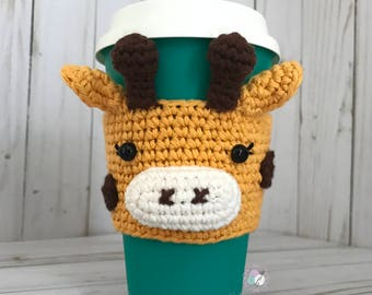 Giraffe Cup Cozy, Giraffe Crochet Cup Cozy, Crochet Cup Sleeve