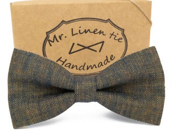 Melange bow tie,bow tie, wedding necktie, linen necktie,  groomsmen necktie,necktie, bow tie for men