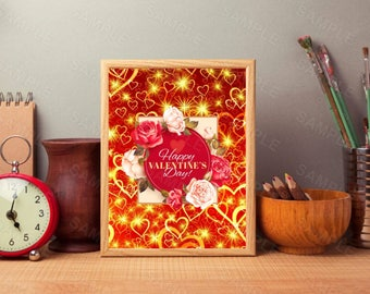 Happy Valentine's Day, Wall Art, Floral Decor,Hearts, Printable Wall Print, Instant Download, Digital Art Print