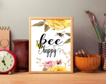 Bee Happy Bee, Floral Wall Decor,Floral Wall Art,Printable Wall Art, Instant Download, 8 x 10, Digital Art