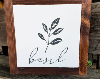Basil Sign | Kitchen Sign | Herb Signs | Wood Sign
